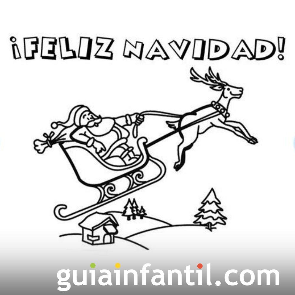 Postal De Navidad Con Santa Claus Para Colorear