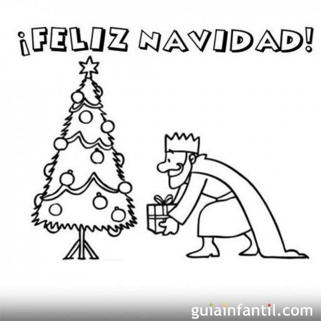 Postal de navidad con rey mago para colorear for Dibujos postales navidad ninos