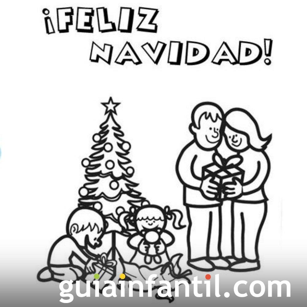 Imprimir felicitaci n de navidad para colorear para ni os - Dibujos postales navidad ninos ...