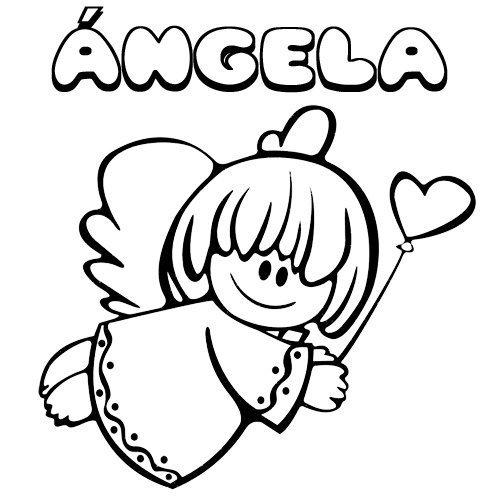 Ángela para colorear. Nombres de Navidad para niña.