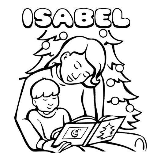 Isabel. Nombres de Navidad para colorear