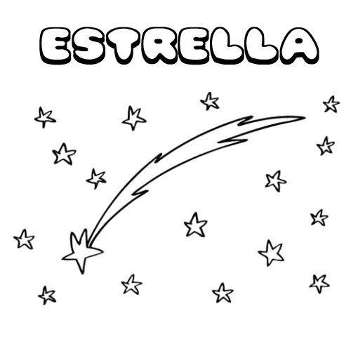 Estrella. Nombres navideños de niña para colorear