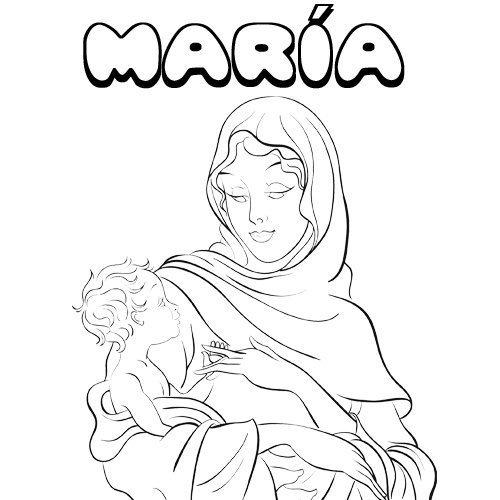 María. Nombres navideños de niña para colorear