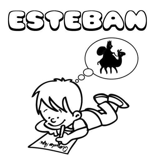 Esteban. Nombres de Navidad para colorear