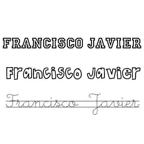 Francisco Javier. Nombre de santo para colorear