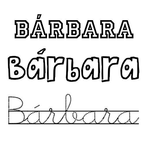 Bárbara. Nombre de santo para colorear