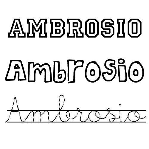 Ambrosio. Nombre de santo para colorear