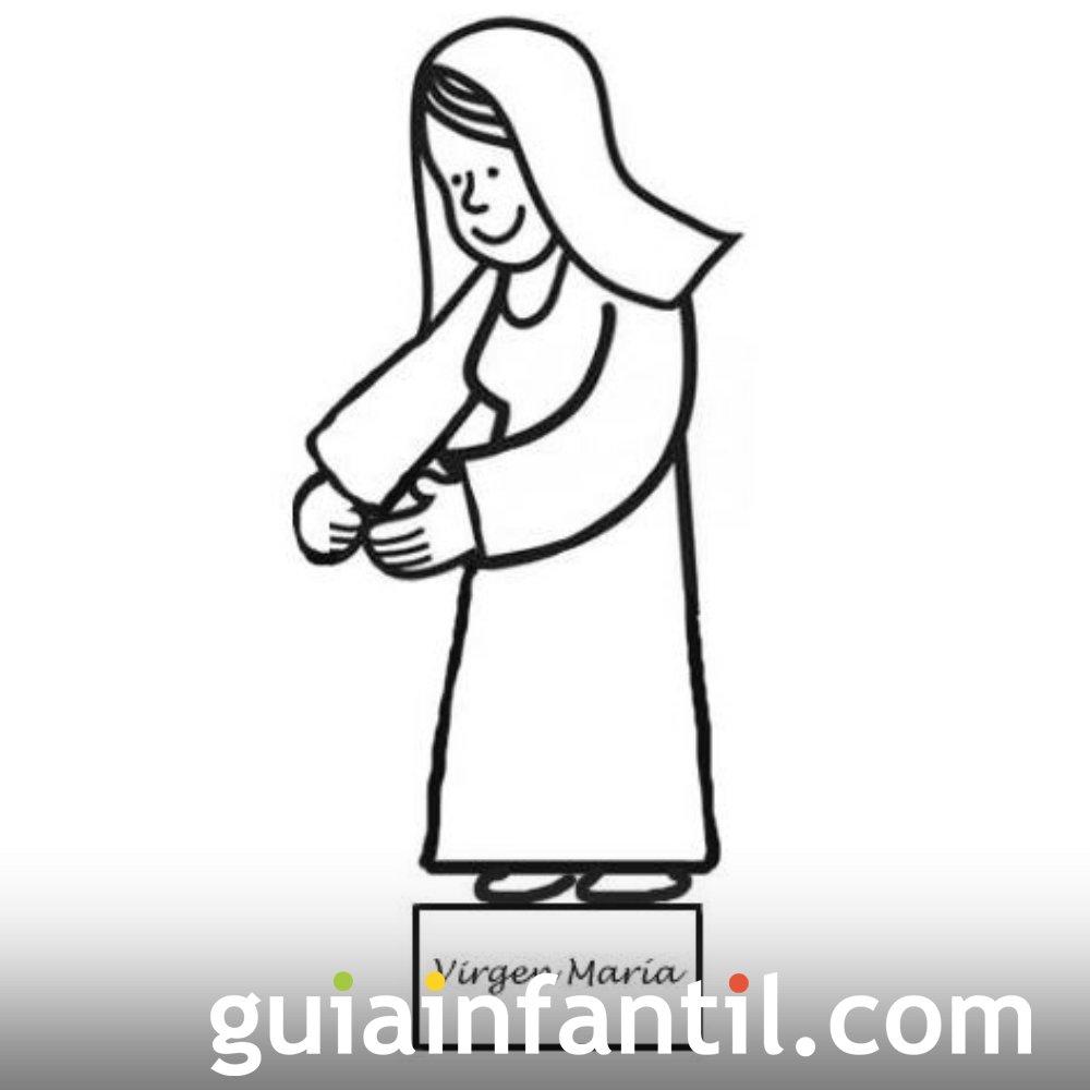 Dibujo de María para recortar y colorear