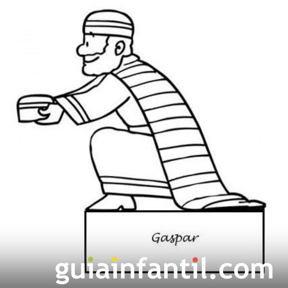 Dibujo del rey Gaspar para recortar y colorear