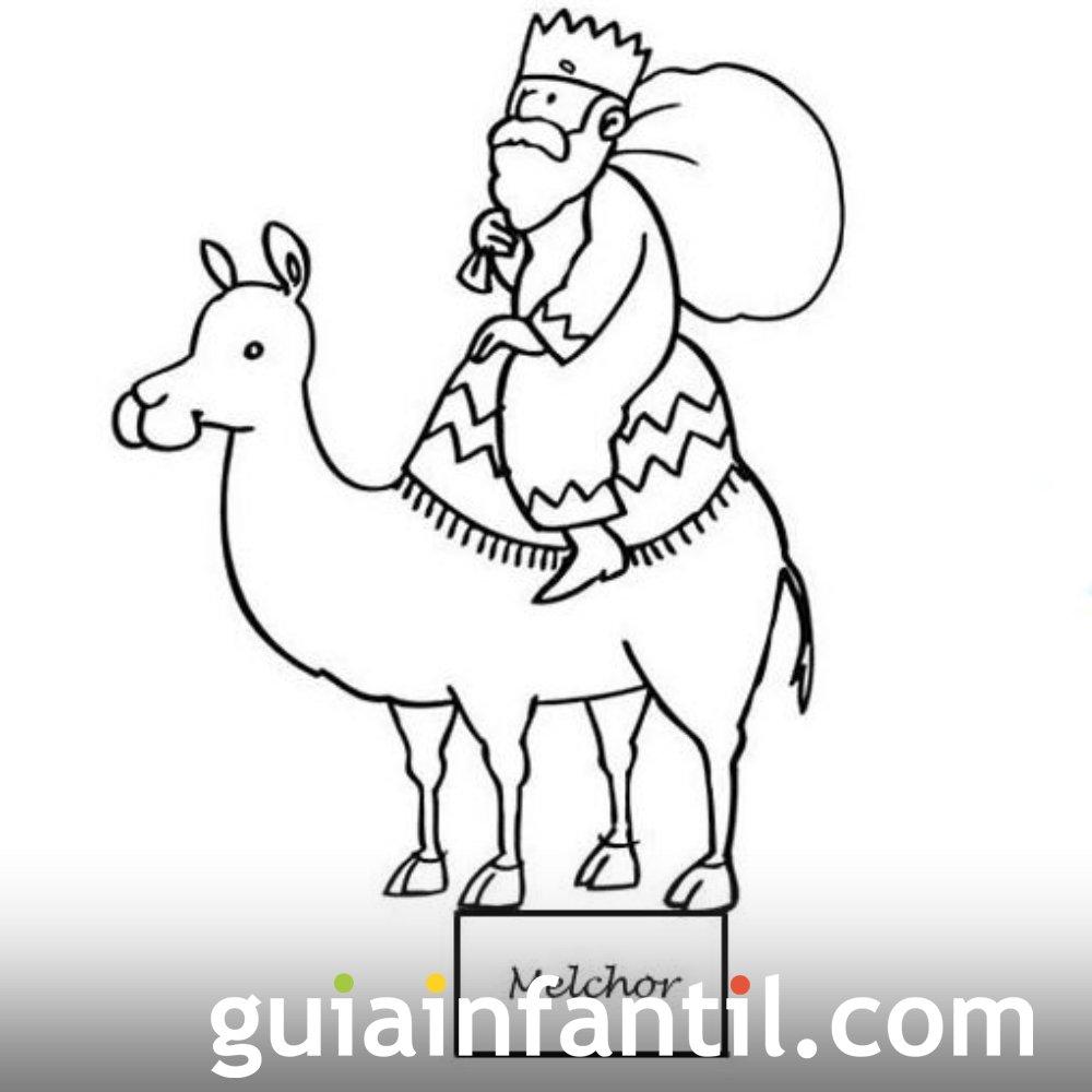 Dibujo del rey Melchor para recortar y colorear
