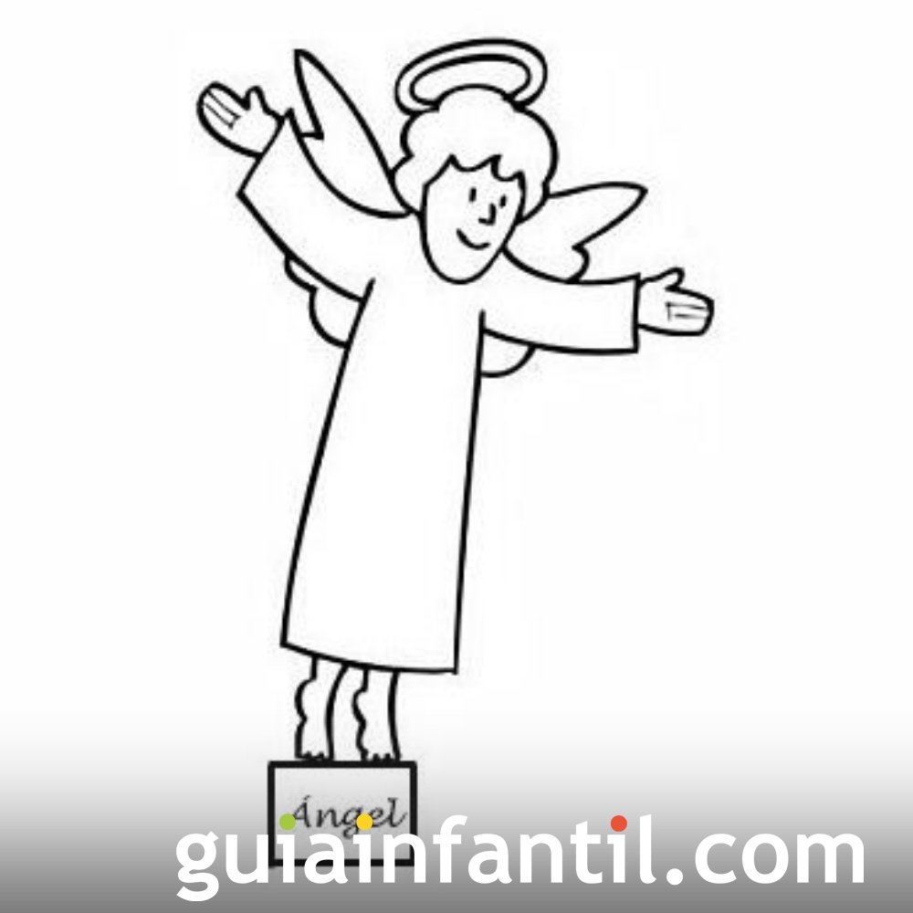 Dibujo del Ángel para recortar y colorear