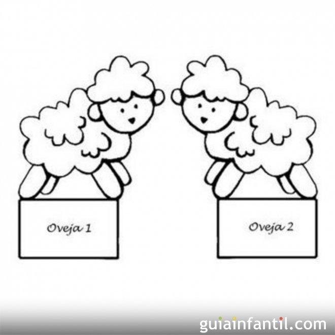 Dibujo de ovejas para recortar y colorear