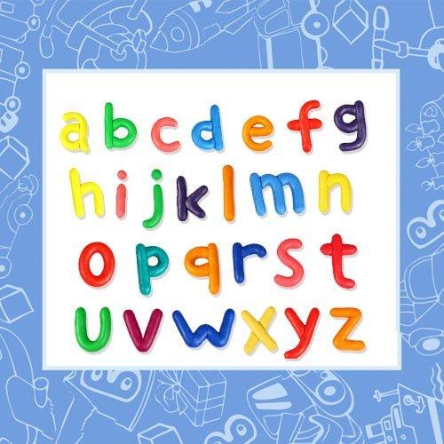 Letras en minúscula del alfabeto hechas con plastilina