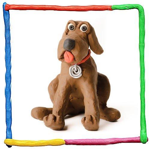 Perro de plastilina, animal de granja para niños