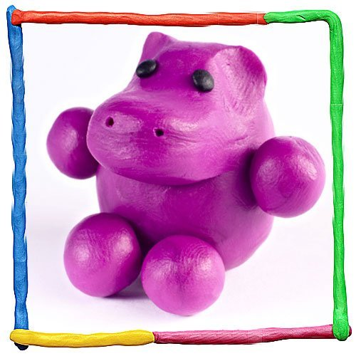 Hipopótamo de plastilina. Animales de la selva
