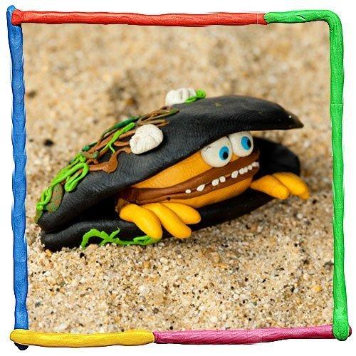 Ostra de plastilina. Animales del mar para niños