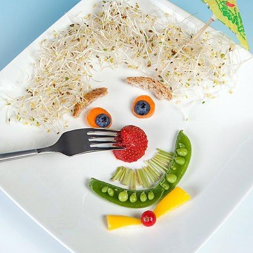 Cara de payaso con verduras