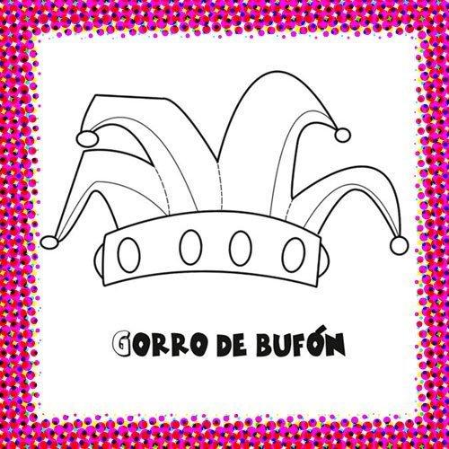 Gorro de bufón de Carnaval para colorear