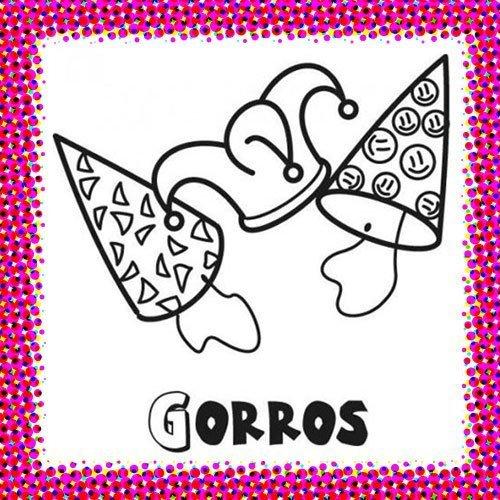 Dibujo de gorros de fiesta en Carnaval