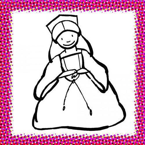 Dibujo con disfraz de princesa en Carnaval