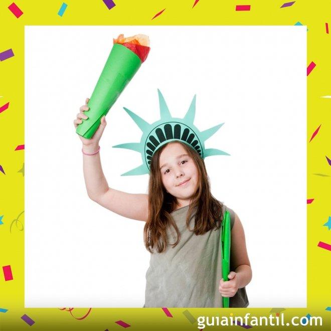 Disfraz casero de Estatua de la Libertad para niños