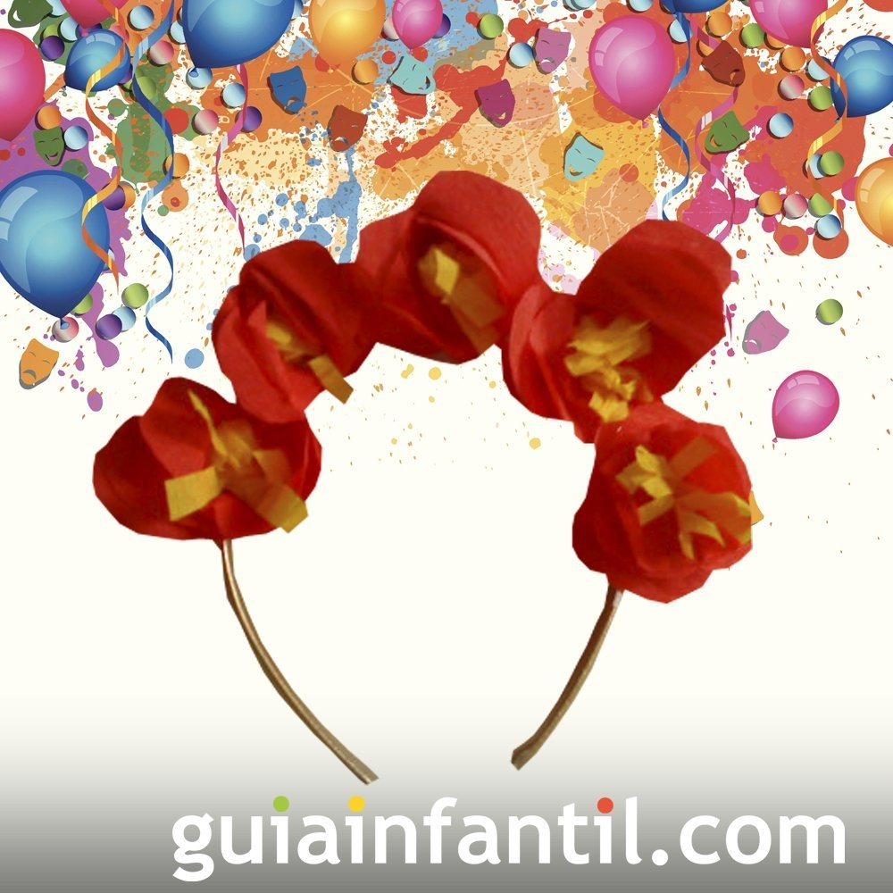 37b1d94135fbe Sombrero de flores. Manualidades de Carnaval para niños