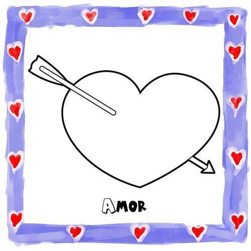 Dibujo de corazón con flecha para pintar