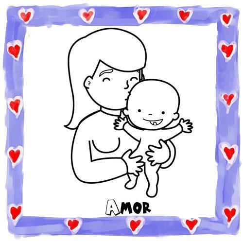 Dibujo de una madre y su bebé para pintar