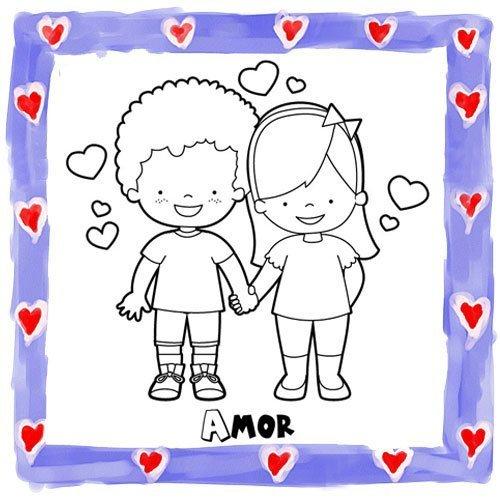 Dibujo de niños enamorados para pintar