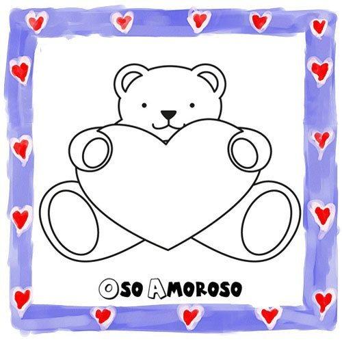 Dibujo de osito con corazón para niños