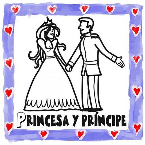 Dibujo de principe y princesa para colorear