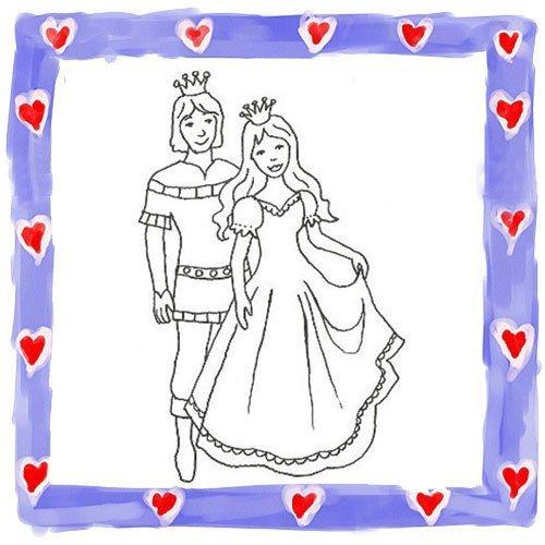 Dibujo de princesa y príncipe bailando