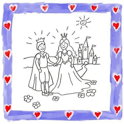 Dibujo para pintar de príncipe y princesa en su castillo
