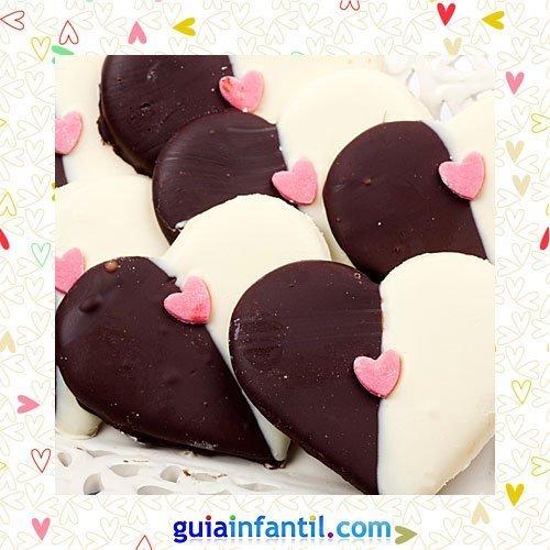 Galletas de corazón en dos colores. Recetas dulces