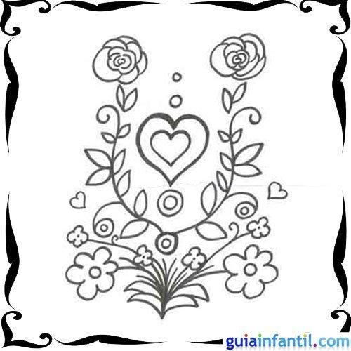 Dibujo de corazón y rosas para niños