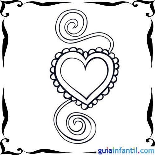 Dibujo de un corazón con un lazo para niños