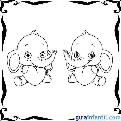 Dibujo de elefantes y corazones para pintar con niños