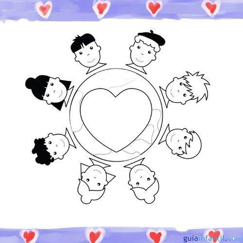 Pueblos del mundo unidos. Dibujos para pintar con niños