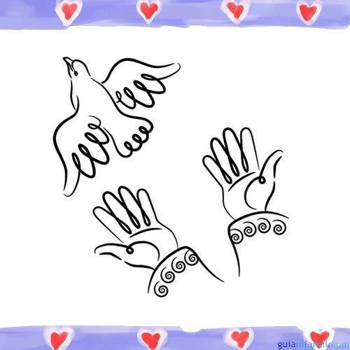 Manos enviando la Paloma de la Paz. Dibujos para colorear