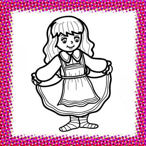 Disfraz de campesina para colorear con niños