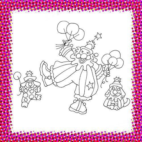 Desfile de payasos. Dibujos de Carnaval para niños
