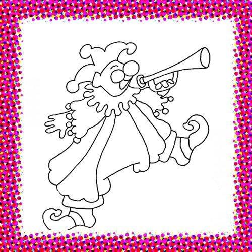 Payaso con trompeta. Dibujo de Carnaval para niños