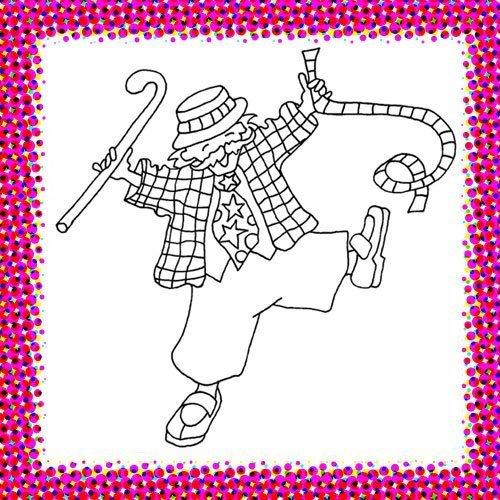 Payaso con serpentina. Dibujo de Carnaval para niños