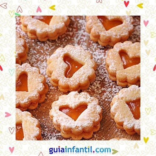 Galletas con centro de cristal. Recetas dulces de corazón