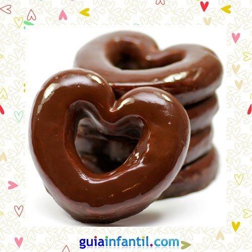 Donuts de chocolate. Recetas dulces en corazón