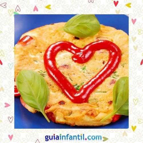 Tortilla con ketchup. Recetas saladas de corazón