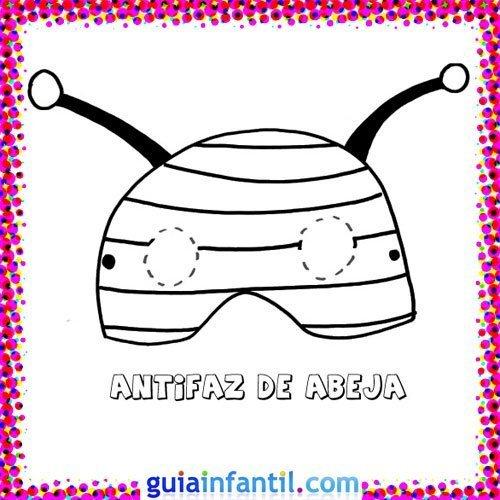 Antifaz de abeja. Dibujos de Carnaval para niños