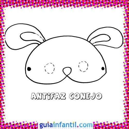 Antifaz de conejo. Dibujos de Carnaval para niños