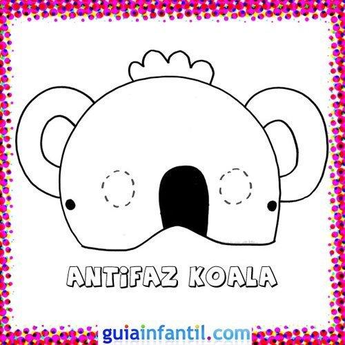 Antifaz de koala. Dibujos de Carnaval para niños