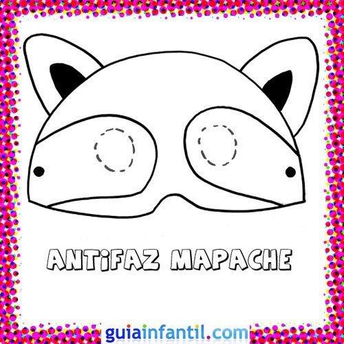 Antifaz de mapache. Dibujos de Carnaval para niños